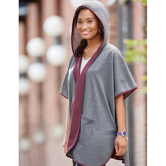 Hooded Reversible Wrap in Women's. Avon. Cool cover-up! Cozy up and slip into this chic cape - a must-have transition piece for the weather change. • Reverses from heather grey to aubergine(shade of purple) • Double pockets on each side • Hooded • Open front; no closure. Available in S/M, L/XL & 1X/2X NEW! Reg. $34.99. #CJTeam #Avon #Style #Sale #Fashion #New #C7 #Jacket #Wrap #HoodedWrap #Avon4me #Womens Shop Avon fashion online @ www.TheCJTeam.com