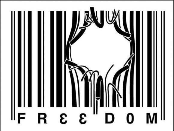 Freedom From Corporatisation Barcode Tattoo Design