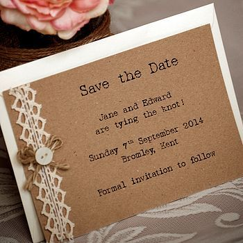Country Vintage Save the Date Postcards - personalised