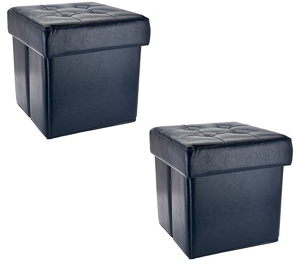 Create stylish storage in seconds with this pair of folding faux-leather ottomans by Valerie Parr Hill. Page 1 QVC.com