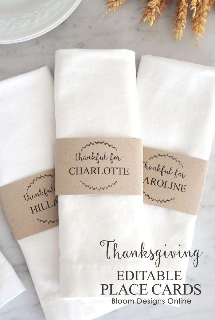 Editable Thanksgiving Place Cards- free download.  You are able to type in each guest's name on these napkin rings