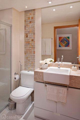 Banheiro de uma residência de 49m² para jovem casal sem filhos. Projeto de Karla Amaral Madrilis.