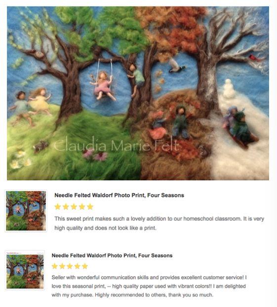 Waldorf Seasons Photo Print of Wool Painting by Claudia Marie Felt