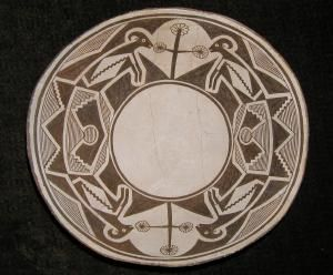 1N Mimbres Classic Black-on-White Bowl.    Firing temperature caused much of the black paint to fire red