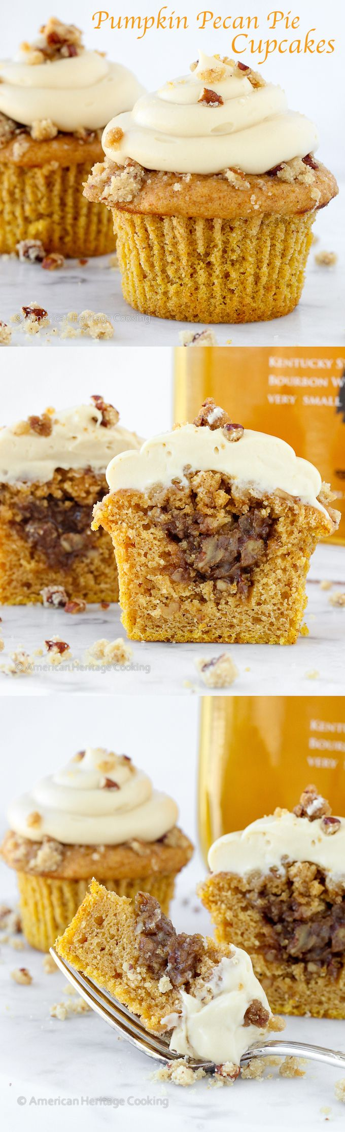 Pumpkin Pecan Pie Cupcakes with a Bourbon Brown Sugar Frosting | Spiced pumpkin cupcakes filled with pecan pie filling topped with bourbon brown sugar frosting!!! ~American Heritage Cooking