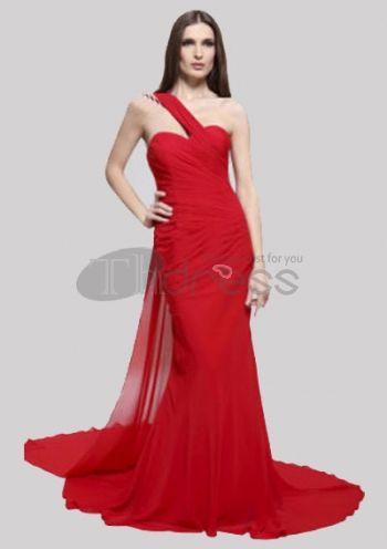trompette / sirène d'un seul coup d'épaule sexy robe de bal