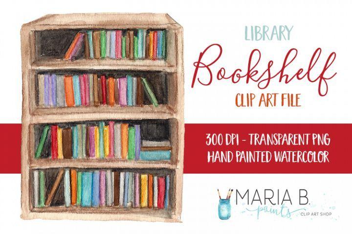 Library Bookshelf Watercolor Clip Art Png 135372 Illustrations Design Bundles Library Bookshelves Watercolor Clipart Clip Art
