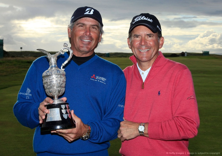 TURNBERRY, SCOTLAND - JULY 29:  Fred Couples (L) of the United States poses with the trophy with leading amateur Chip Lutz of the United States.: Fred Couples, July 29, Amateur Chips, States Poses, Lead Amateur, United States, Chips Lutz