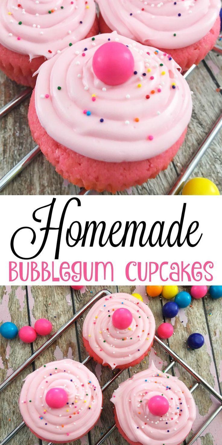 Homemade Bubblegum Cupcakes - Cupcake Recipes for Kids - A Spark of http://Creativity.com