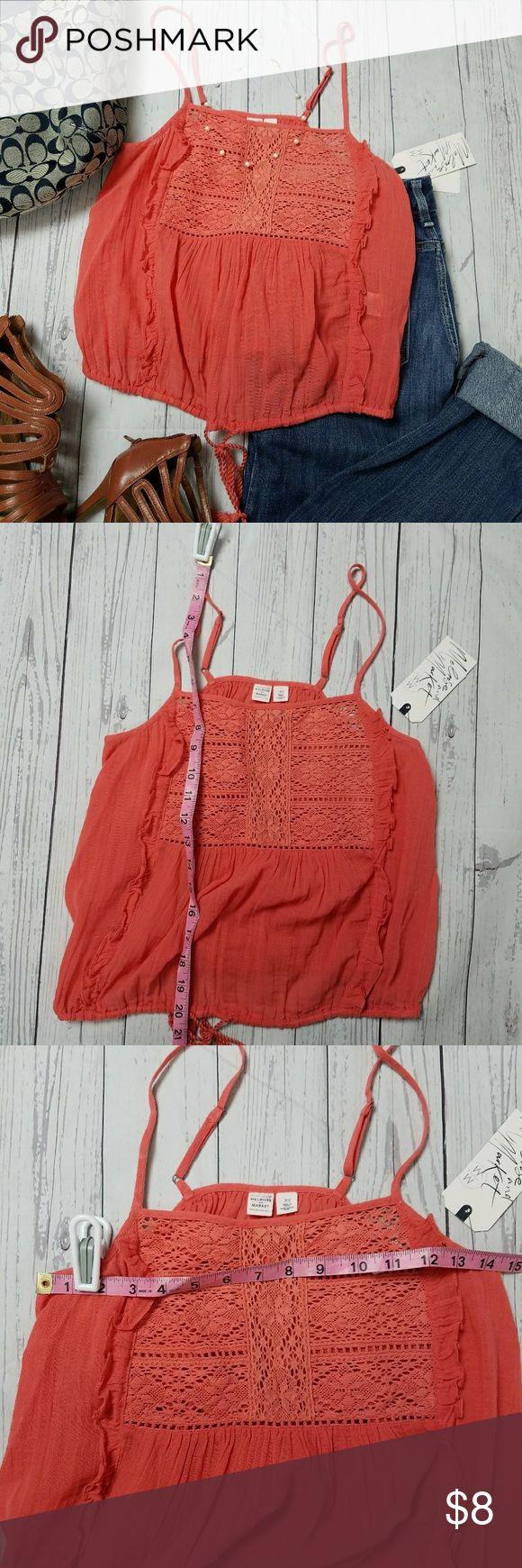 NWT Melrose and Market Crochet Yoke Cami NWT Melrose and Market Crochet Yoke Cami Coral Spice Melrose and Market Tops