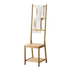 "Would like this chair costs too much !RÅGRUND Chair with towel rack - IKEA  $ 49.99 Bamboo, Clear polyurethane/acrylic lacquer Product dimensions Depth: 17 3/8 "" Height: 55 1/8 "" Width: 15 3/8 "" Package measurements and weight Packages: 1 Article Number: 902.530.74  Width: 17 3/8""  Height: 1 5/8""  Length: 38 5/8""  Weight: 14lb"