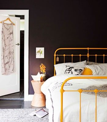 Painted Metal Bed Headboards Love the dark wall and bright headboard