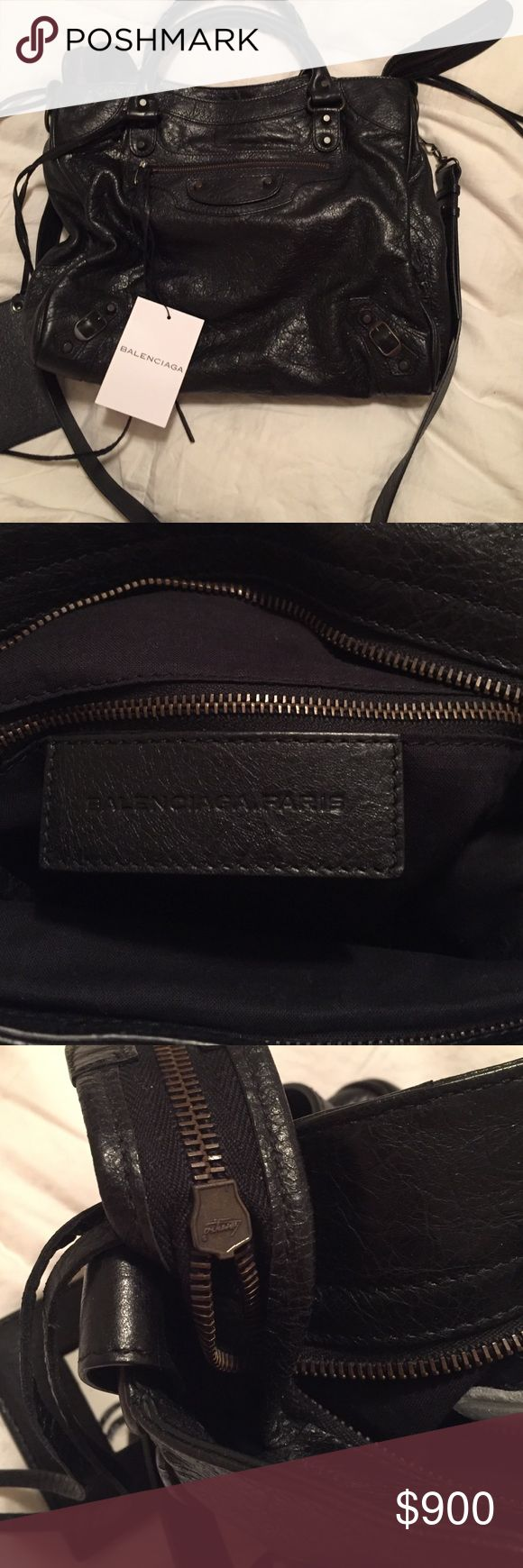 Brand New Authentic Balenciaga Velo Black Handbag Beautiful Brand New-Authentic Balenciaga Velo Black Leather Handbag. Retail tag attached.silver hardware-Dustbag, authenticity cards flawless-selling for a son in an estate sale as his mother recently passed-(He wants me too get a certain price-had it listed before and he never wanted me to go that low in price) I have sold for years on eBay) he never sold anything and asked me too Open to all offers. No trades thank you. Measures 14 in…