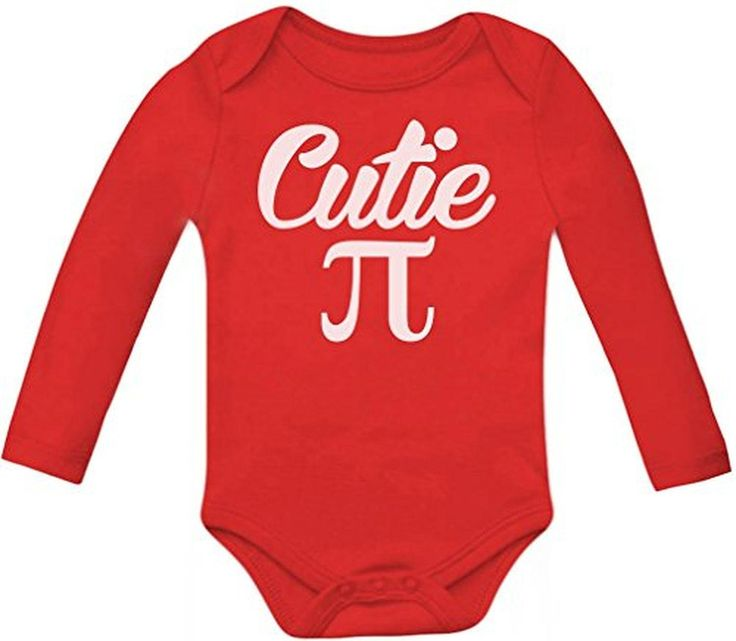 Cutie Pi Symbol Infant Bodysuit Unisex Funny Baby Long Sleeve Onesie 3 - 6 months Red - Brought to you by Avarsha.com