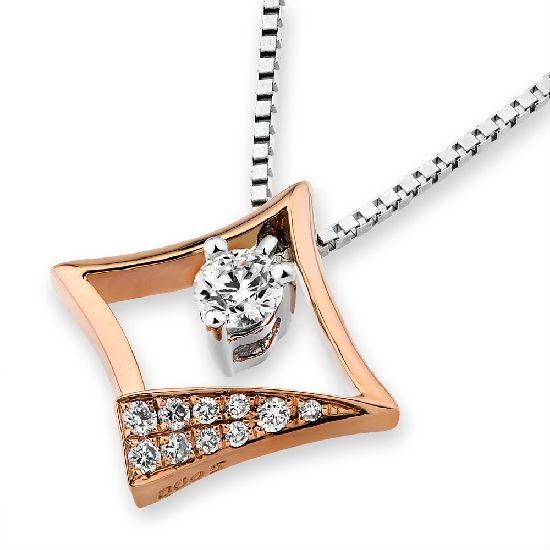 SMALL-ORDER ZONE: 18K Rose & White Gold Square Diamond Pendant ...