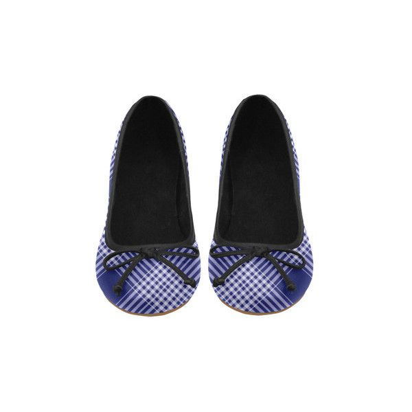 Navy Blue And White Plaid Juno Ballet Pumps (Model 312) ($54) ❤ liked on Polyvore featuring shoes, pumps, blue and white shoes, skimmer pump, ballerina shoes, ballerina flat shoes and ballet pumps
