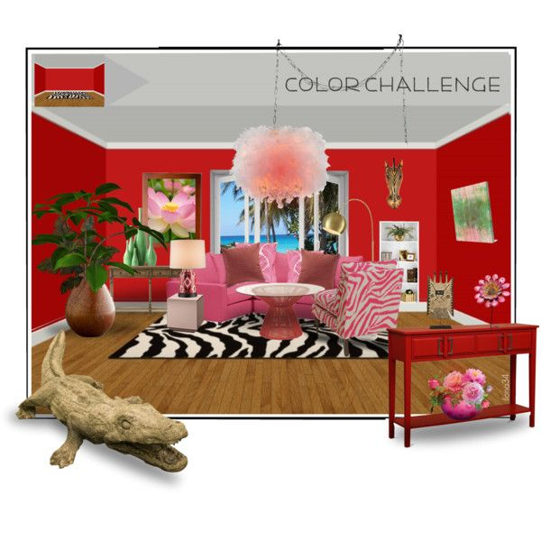 Color Challenge: Red and Pink by ilona2010 on Polyvore featuring interior, interiors, interior design, maison, home decor, interior decorating, Coralia Leets, Pottery Barn, Home Decorators Collection and Warehouse of Tiffany