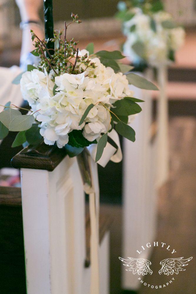 White Hydrangeas Pew Decor At The Piazza In The Village Wedding