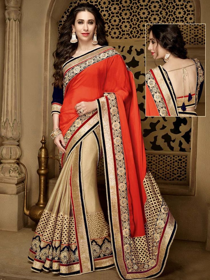Aesthetic orange and beige color chiffon and net saree with kundan, stones, zari, pearls, resham work. Item code: SDH10117 http://www.bharatplaza.com/new-arrivals/sarees.html