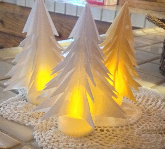 7 Origami Luminary Trees with Candles by GracelinePaperStudio