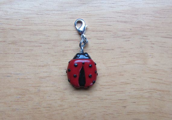 Ladybug Polymer Clay Charm Clip On Zipper pull in by ColorfulClay, $4.00