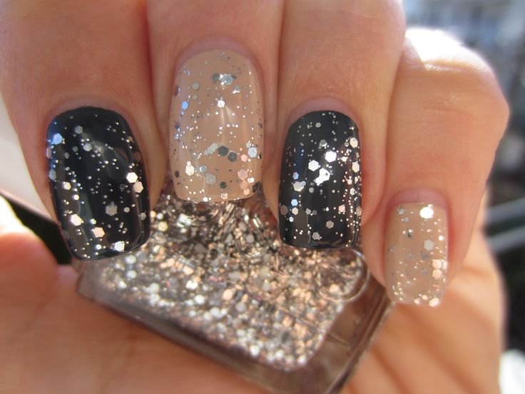 Glitter nails {Essie Set In Stones, Brooch The Subject, and Bobbing for Baubles}