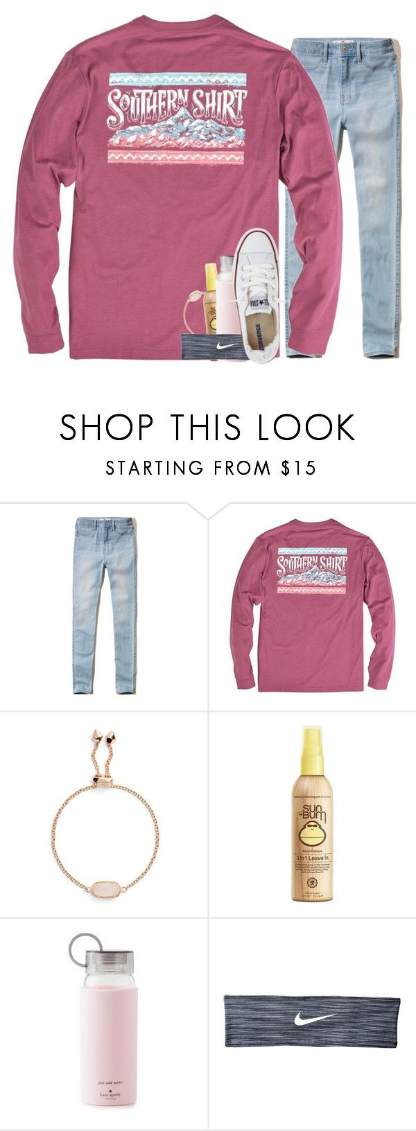 """""""s is for southern shirts """" by madelinelurene ❤ liked on Polyvore featuring Hollister Co., Kendra Scott, Sun Bum, Kate Spade, NIKE and Converse"""