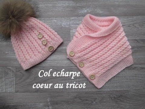 TUTO COL ECHARPE COEUR AU TRICOT Scarf collar knitting COLLAR DE BUFANDA DOS AGUJAS - YouTube