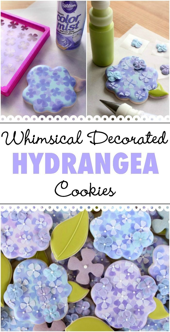 How to make whimsical hydrangea cookies with Wilton Color Mist spray.