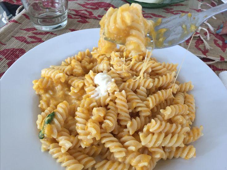 Fusilli alla sorrentina di zucca - fusilli with zucca sorrentina sauce.