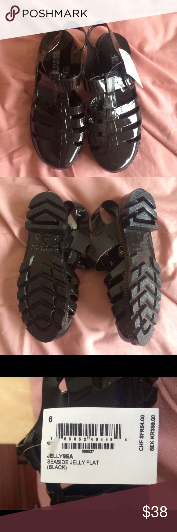 Black jelly sandals american apparel -  No Swaps Nwt Black Jelly Shoes Size 6 Brand New Never Worn