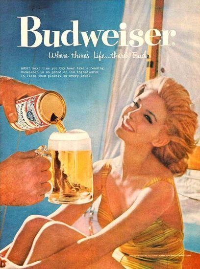 Budweiser Beer Beach Girl 1959 - Mad Men Art: The 1891-1970 Vintage Advertisement Art Collection
