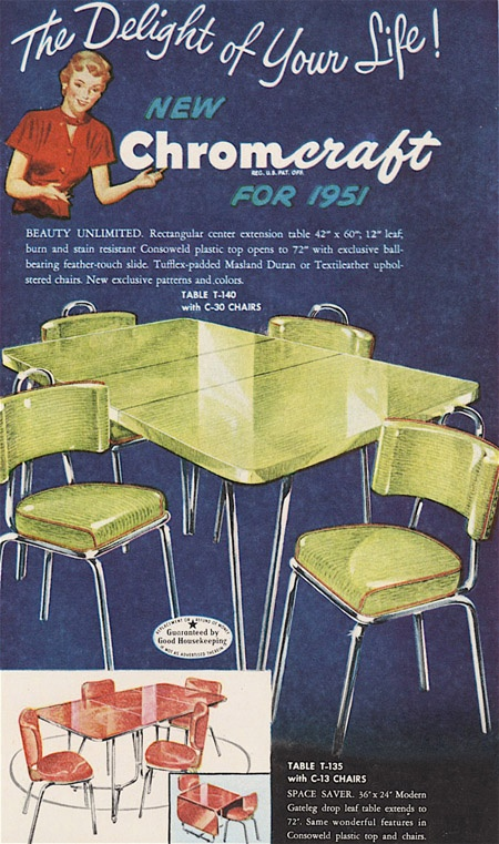 Chromcraft -  MCM kitchen table and chairs ad: Kitchens T Wisdom, Vintage Kitchens, Kitchen Tables, Chrome Dinette, Kitchens Tables, Dinette Sets, Mcm Kitchens, Vintage Ads, Retro Kitchens