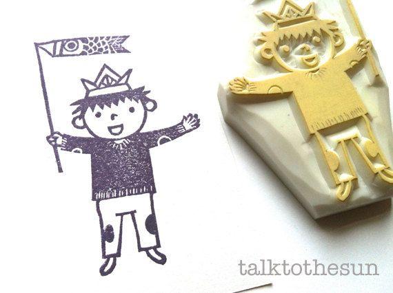 Little boy hand carved rubber stamp children s day