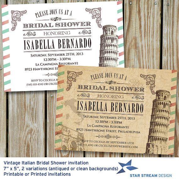 Vintage Italian Bridal Shower Invitation by StarStreamDesign, $16.00