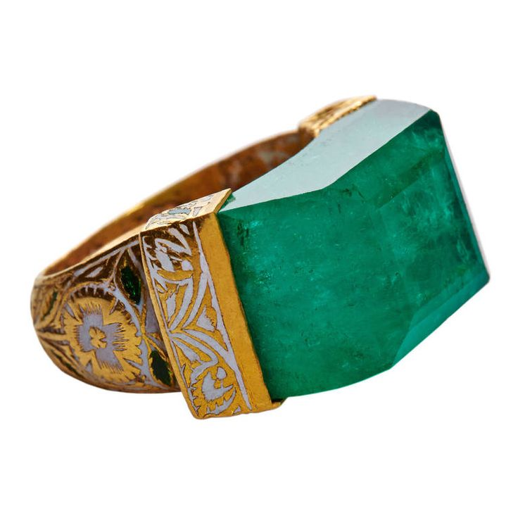 Jade Jagger NeverEnding Emerald Enamel Ring | From a unique collection of vintage more rings at https://www.1stdibs.com/jewelry/rings/more-rings/