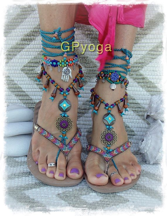 FAIRY Dream BAREFOOT sandals Purple Teal Boho Gypsy by GPyoga