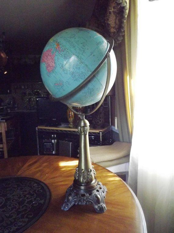 Vintage World Globe by ShabbyFrenchShack on Etsy, $135.00