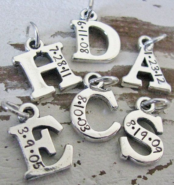 solid+sterling+silver+initial+charm+with+date+by+juliethefish,+$22.00
