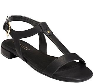 Aerosoles T-Strap Sandals - Buckle Down