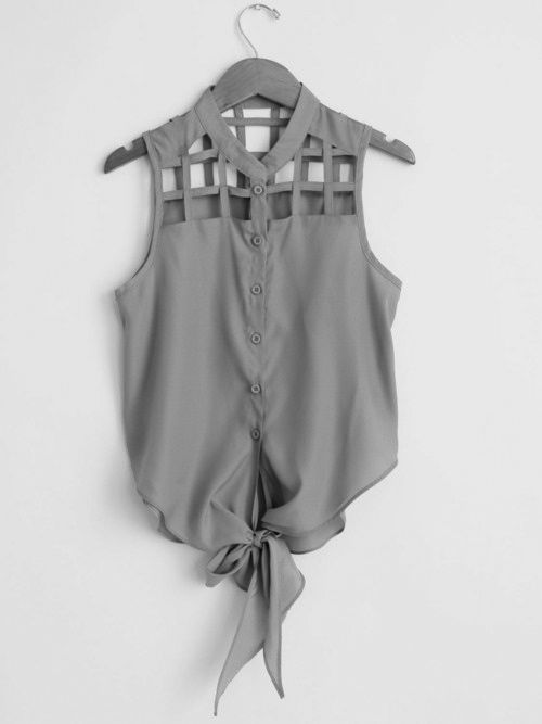 cutout button down: Cutouts, Summer Shirts, Colors, Ties, Summer Outfits, Style Clothing, Cut Outs, Summer Clothing, Tanks