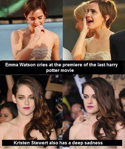 Emma Watson has more of a soul. Harry potter VS twilight emotions.