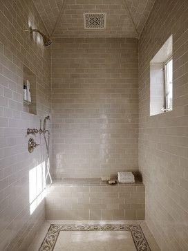 Master shower mediterranean bathroom; like the tile color