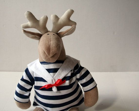 Stuffed Sailor Reindeer wearing striped sweater, Soft toy for kids - $32.00