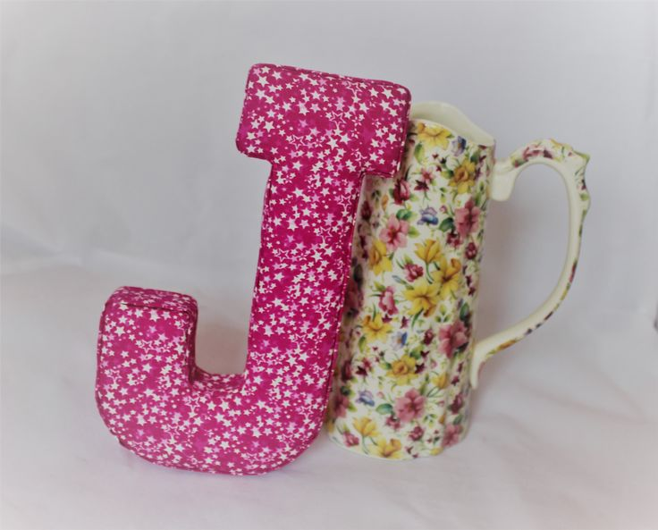 Pink Fabric Letter - starry, bright pink nursery decor, child's bedroom, initial, name, new born gift, christening, birthday, door hanging by TheCraftyRedButton on Etsy