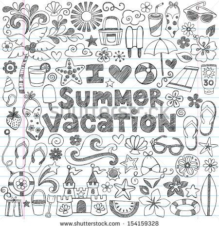 I Love Summer Vacation Tropical Hand-Drawn Lettering Sketchy Notebook Doodles with Palm Tree, Hibiscus Flower, Sunglasses, Flip-Flops, Sandcastle- Vector Illustration on Lined Sketchbook Paper - stock vector