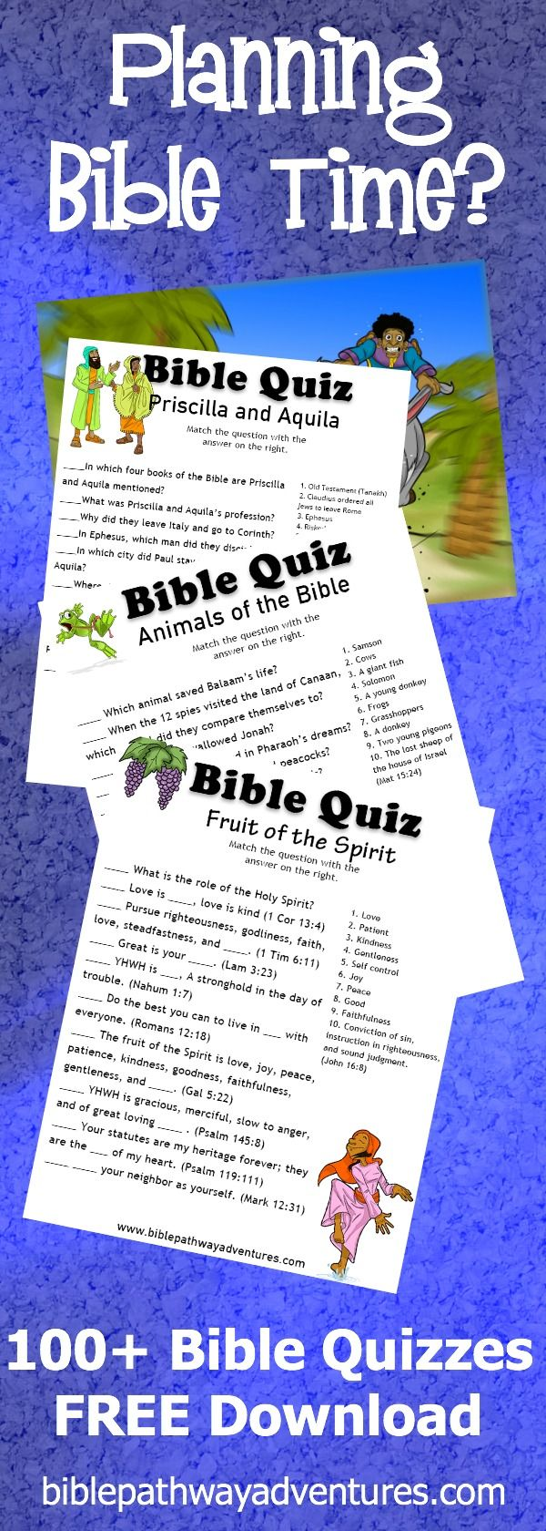 100+ FREE Bible Quizzes for download | Printables for parents and teachers.