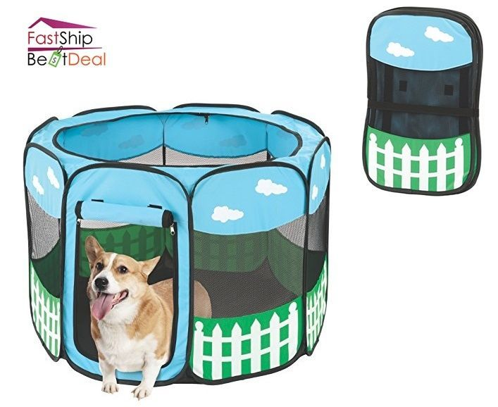 Portable Pet Playpen Exercise Dog Kennel Puppy Folding Play Safe Indoor Outdoor #Etna