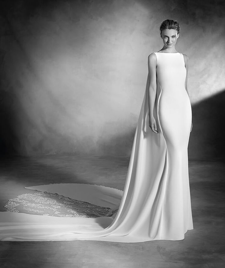 Niara - Crepe and tulle wedding dress with gemstones and bateau neckline