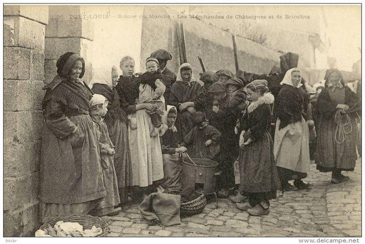marché de Port-Louis (Bretagne) , marchandes de châtaignes et de brioches